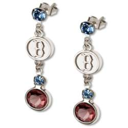 Crystal Earrings with Boston Red Sox Logo Charm