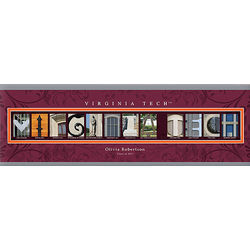 Virginia Tech 12x36 Personalized Letter Canvas