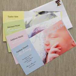Welcomed with Love Personalized Photo Birth Announcements