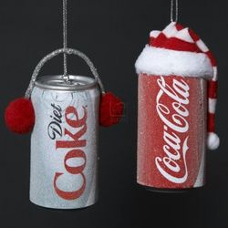 Coca-Cola Cans with Hat & and Ear Muffs Ornaments