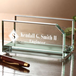Personalized Executive Glass Business Card Holder