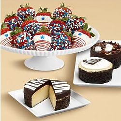 Cheesecake Trio and Star Spangled Chocolate Strawberries