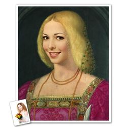 Lady with Renaissance Dress from Photo Print
