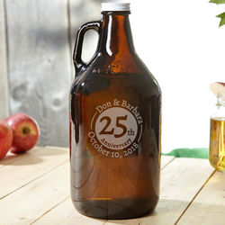Personalized Landmark Anniversary Glass Growler