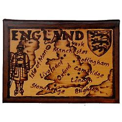 England Map Leather Photo Album in Natural