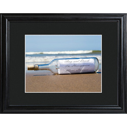 Personalized Message in a Bottle Print with Beveled Wood Frame