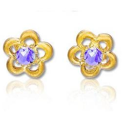 14K Yellow Gold Amethyst Flower Children's Earrings