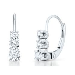 10k White Gold 1/2 Carat TW Round Three-Diamond Earrings