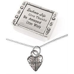 Embrace Life Treasure Box & Heart Necklace Set