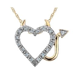 Diamond Devil Heart Pendant in 14K Yellow Gold with Chain