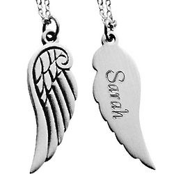 Personalized Pewter Angel Wing Pendant