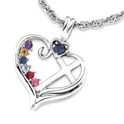 Sterling Silver Birthstone Heart Cross Pendant