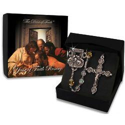 Bohemian Glass Silver Year of Faith Rosary