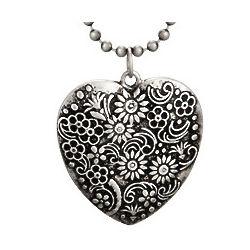 Oxidized Floral Heart Medallion