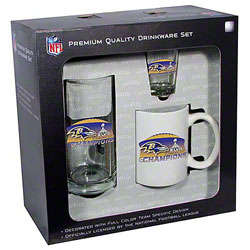 Baltimore Ravens Super Bowl XLVII Champions Glassware Fan Set
