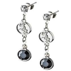 Crystal Earrings with Chicago White Sox Logo Charm