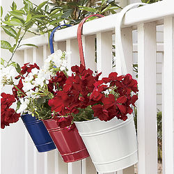 Red, White and Blue Planter Buckets