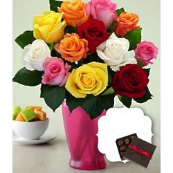 One Dozen Long Stemmed Rainbow Mother's Day Roses with Chocolates