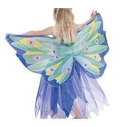 Kid's Fanciful Fabric Peacock Dress with Wings