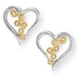 14 Karat Two Tone Gold Diamond Heart Earrings with Bezel Setting