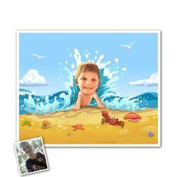 Seaside Fun Caricature from Photo Print