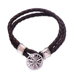 True North Sterling Silver Accent Leather Braided Bracelet
