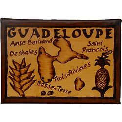 Guadeloupe Map Leather Photo Album in Natural