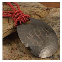 Monogrammed Hammered Teardrop Copper Necklace