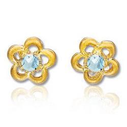 14K Yellow Gold Aquamarine Flower Children's Earrings