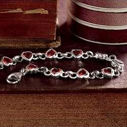 Garnet Heart Bracelet and Earrings Set