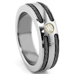 Titanium & Black Titanium Cable Diamond Ring