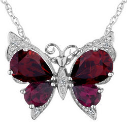 Garnet and Rhodolite Butterfly Pendant