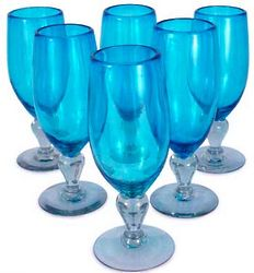 Aquamarine Blown Glass Goblet Set