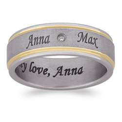 Titanium Two-Tone Diamond Outside and Inside Engraved Band