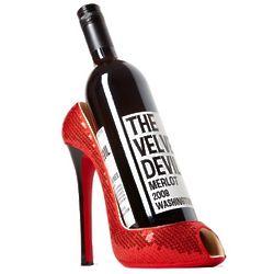 Sequin Blush High Heel Wine Holder