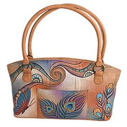 Hand-painted Leather Peacock Tote