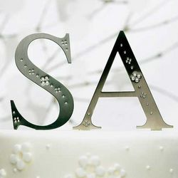 Jeweled Monogram Cake Topper