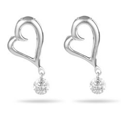 Diamond Open Heart Dangling Earrings in 18 Karat White Gold