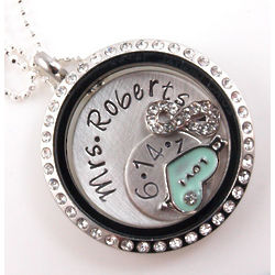 Personalized Bride Themed Floating Glass Locket Necklace