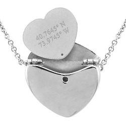 Engraveable 2 Line Coordinate Silver Secret Message Locket