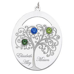 Sterling Silver Oval Family Tree Pendant with 3 Birthstones