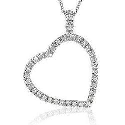 14k Diamond Dangle Heart Pendant Necklace