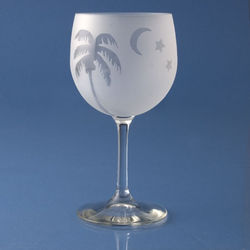 Frosted Palm White Wine Glasses