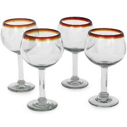 Amber Globe Blown Glass Wine Glass Set