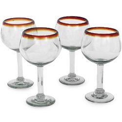 Amber Globe Blown Glass Wine Glass Set
