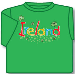 Kid's Smiling Shamrocks T-Shirt in Green