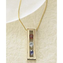 Mother's Birthstone Two Stone Necklace