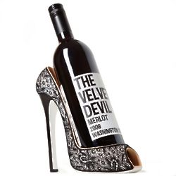 Little Black Lace High Heel Wine Holder