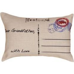 Plaid Post Card Grandfather Pillow