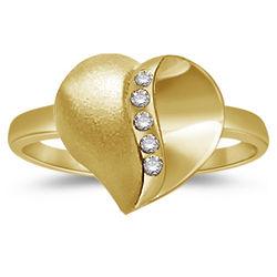 Diamond Five Stone Heart 14K Yellow Gold Satin Finish Ring